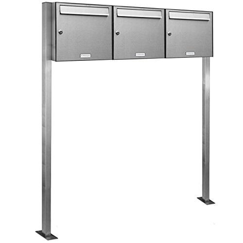 AL Briefkastensysteme 3er V2A Edelstahl Standbriefkasten rostfrei als 3 Fach Briefkastenanlage DIN A4 in Postkasten Briefkasten Design modern