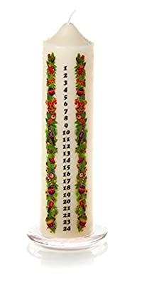 Advent Candle with Glass Candle Holder 20cm from Premier