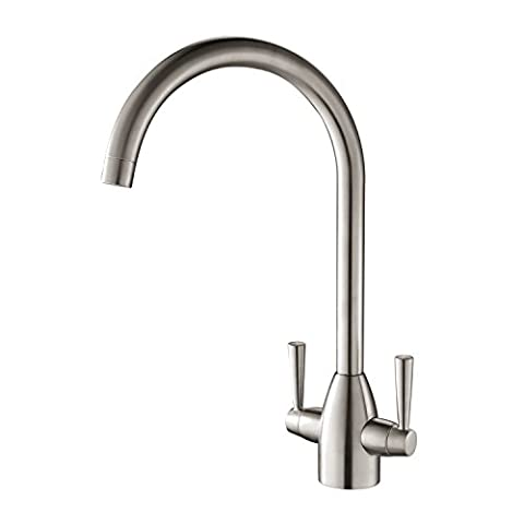 Hapilife Kitchen Tap Two Handle Swivel Spout Sink Mixer Tap,