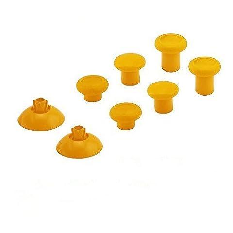 Canamite® Thumbstick Analogsticks Knöpf Button Set Ersatzteile für PS4/ Xbox One Elite 3,5mm Wireless Controller (Gelb)