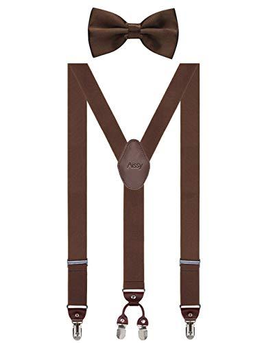 Aissy Herren Hosenträger 3.5cm Y-Form Elastisch und Längenverstellbar Hosenträger Breit mit 4 starken Clips und Fliege für Herren Damen Braun
