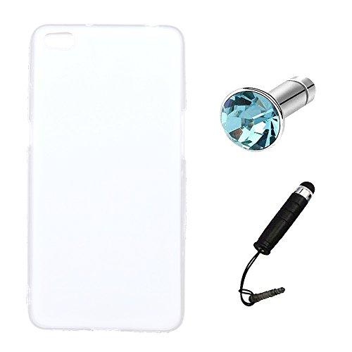 Lusee® Silikon TPU Hülle für ZTE Nubia N2 5.5 Zoll Schutzhülle Case Cover Protektiv Silicone halb transparent weiß