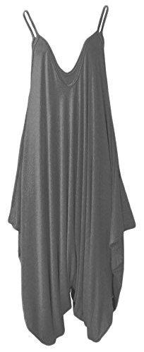 Frauen Damen Plain ärmel Cami Baggy Strapy Body Harem Jumpsuit Playsuit Lagenlook Top-Kleid plus Größe XL XXL XXXL 36 38 40 42 44 46 48 50 52 54