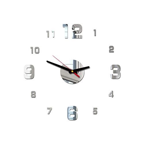 DOGZI Wecker Digital Led Wanduhr 3D, Uhren & Wecker Batteriebetrieben, 3D DIY Römische Zahlen Acryl Spiegel Wandaufkleber Uhr Wohnkultur Wandtattoo
