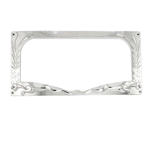 Auto Auto Silber Ton Kunststoff-Stern-Blumenmuster-Nummernschildrahmen
