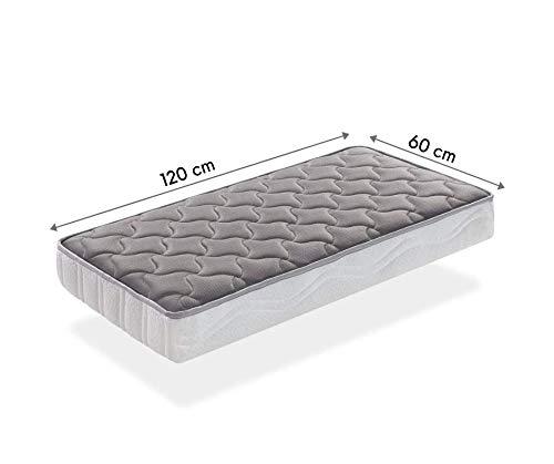SLEEPAA Colchón de Cuna 120x60 cm Fibra DE Coco Natural y MUELLES Transpirable Antiácaros Hipoalergénico Tejido Exterior Suave Altura 15 cm Fabricado en España (120x60 cm)