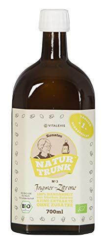 """Renates NaturTrunk N° 3 Zitrone + Ingwer 700ml Glasflasche, Ihr biologischer SCHLANKMACHER! Auch gut gegen den\""""Kater\"""" eine Flasche = 28 Shots. DE-ÖKO-006"""
