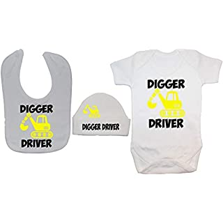 Acce Products Digger Driver Baby Bodysuit/Romper, Feeding Bib & Beanie Hat - 6-12 Months - White