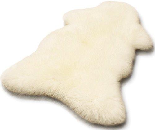 Zaloop Öko Lammfell Schaffell Merino weiß ca. 90-100 cm echtes Fell -