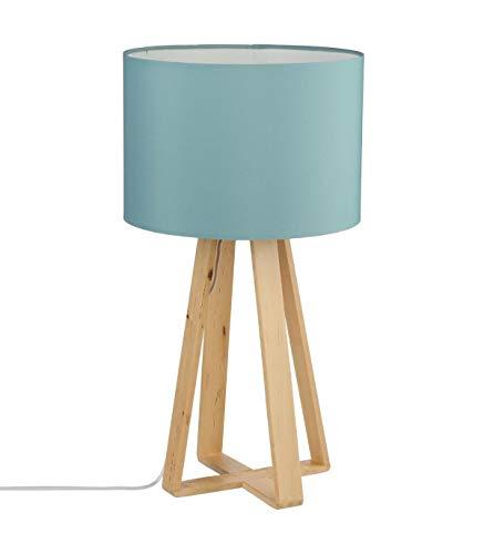 Lampe à poser, pied en bois naturel, abat jour coloris BLEU
