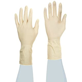 Ansell Accutech Critical 91-300 Latex Glove, Chemical Resistant, Powder Free, Rolled Beaded Cuff, 11
