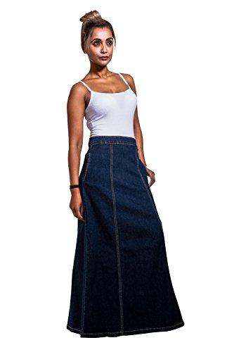Langer Jeansrock Stonewash Maxiröcke Maxi-rock Damen Mode denim jean