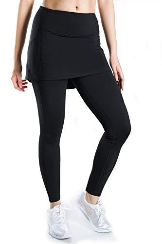 Yogipace Damen Thermo-Fleece-Kompressions-Strumpfhose mit Rock, Seitentaschen, Damen, 25