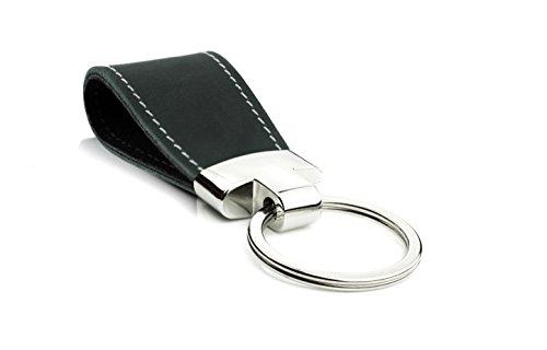 Schlüsselanhänger Schwarz Rustik echt Leder Key Two Damen Herren Unisex MenQ