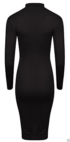 Ladies Long Sleeve Choker V-Neck Bodycon Robe Midi EUR Taille 36-54 Noir