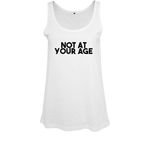 Ladies modisches Oversize Tanktop not at your age - Schwarz & Weiß - Fashion lang und weit geschnittenes Shirt mit Motiv - Neu Weiß