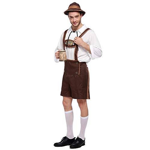 KISSION 3Pcs Kostüme Herren Bayerischer Kerl Hut + Hemd + Hosen Kleidung Set