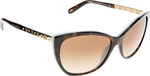 Tiffany & Co. Damen TF4094B Sonnenbrille, Braun (Havana Blue 81343B), One size (Herstellergröße: 59)