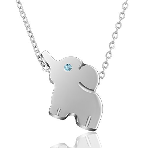AEONSLOVE Delicate Lucky Elephant Pendant Necklace Stainless Steel Jewelry