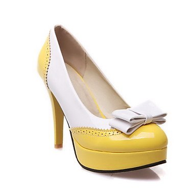 Moda Donna Sandali Sexy donna pull-on High-Heels PU Round bicromatica punta chiusa Pumps-Shoes Yellow