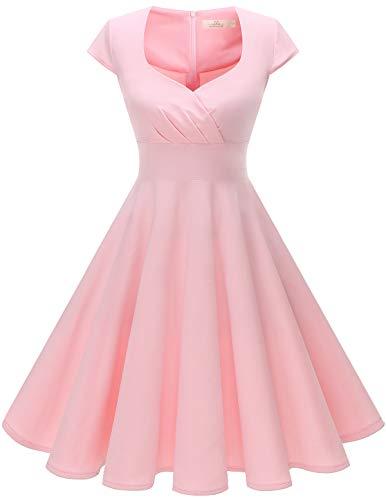 HomRain Damen 50er Retro Vintage Rockabilly Cocktail Party V-Ausschnitt Abendkleid Pink XL