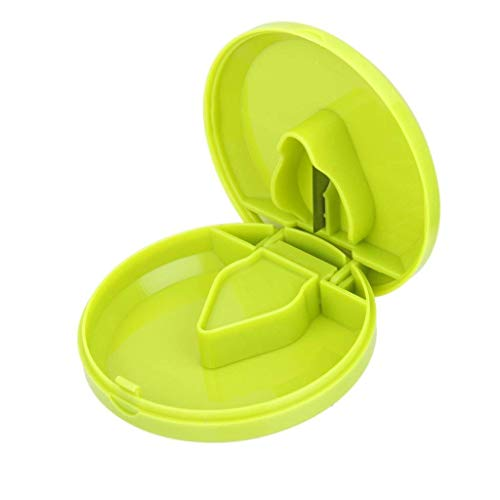 Electomania Pill Cutter Round Plastic Tablet Cutter Portable Pill Splitter Multifunctional Pill Storage Container 7 x 7 x 2cm (Green)