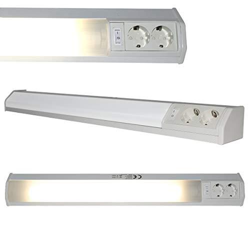 LED Unterbauleuchte Eck Leuchte Lampe mit 2 Steckdosen und Wippschalter 9W 74cm inkl. T8 Leuchtmittel austauschbar Lichtleiste Spiegel Küchen Schrank Büro