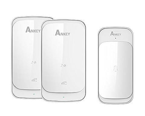 ankey Sonnette radio sans fil sonnette numérique Design élégant avec affichage LED, Wireless Door Bell protégée à eau | 1x émetteur/récepteur 2x | 58Mélodies/Sonneries–Quatre niveaux de volume–Au Choix (étanche) | Blanc