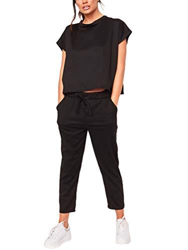 Minetom Damen 2 Stücke Sets Outfit Sport Yoga Fitness Lose Jogginganzug mit Kordelzug Beiläufig T-Shirt Top und 7/8 Länge Hose 01 Schwarz DE 42
