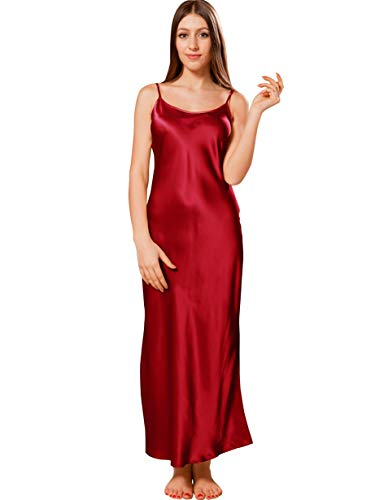 Ellesilk 100% seta camicia da notte di donna, chemise da notte lunga in pura seta, 22 momme, vino, xs