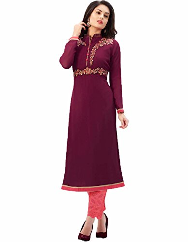 Arawins-Womens-Designer-Clothing-Full-Sleeves-Chinese-Collar-Neck-Brown-Color-Georgette-Kurti-Kurta-Free-Size-Up-to-2XL-Casual-Wear