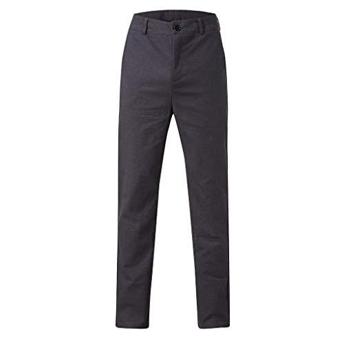 CAOQAO Pantalone Uomo Pantaloncini Jeans/Pantaloni da Uomo Dritti in Cotone con Cerniera Sottile in Vita Tinta Unita Business Casual/Grigio Scuro/S-XXL