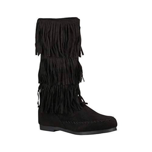 Elara Damen Stiefelette | Mokassin-Stiefellete mit Fransen| Bequeme Flache Stiefel | Chunkyrayan HU967 Black-41