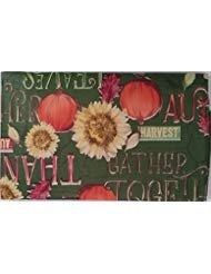 Rustikal Herbst Sonnenblumen und Kürbissen mit Herbst Worte Vinyl Tischdecke auf grünem Hintergrund, Vinyl, Green, Orange, Red, Yellow, 52