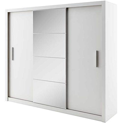 European smart furniture id-04 idea 04 - armadio a 3 ante scorrevoli con specchio, pannelli in legno: 22 mm, finitura bianco opaco, 250 x 60 x 215 cm