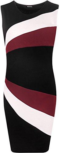 Plus Kleidung Jahre 80er Size (WearAll - Damen Ärmellos Bodycon Block Kontrast Verkleidung Streifen Party Kleid - Wein -)