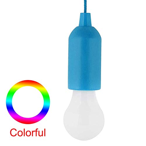 SODIAL 1pcs Neue tragbare bunte LED Pull Cord Gluehbirne Outdoor-Garten-Party haengen LED-Licht-Lampe Blau Neue Cord