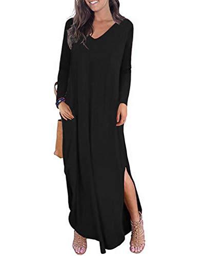 Kidsform Robe Longue Femme Col V Robe Grande Taille Automne Hiver avec Poches T-Shirt Robe Fourchu élégante A-Noir XL