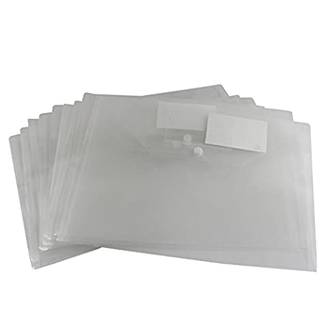 Zoohot A4 Size Waterproof Snaps Filing Envelopes with Blank Notes,Set of 10