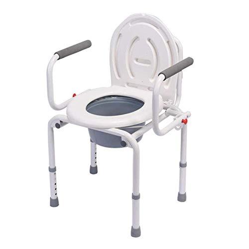 Wheelchair Klappbarer Toilettenstuhl, älterer Toilettenhocker, Mobile Toilettenstühle, Verstellbarer, Rutschfester, tragbarer Badezimmerstuhl aus Stahl, hygienisch und langlebig -