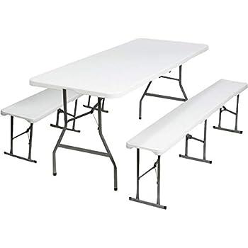 Probache Table Pliante Portable 180 Cm Et 2 Bancs Pliables Pour Camping Buffet