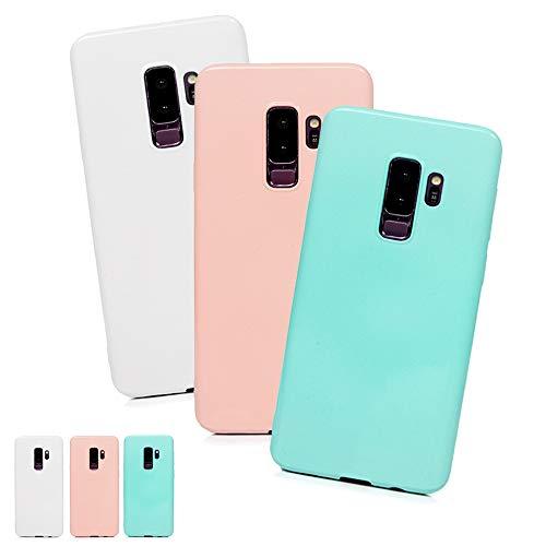 LaVibe 3 X Coques Samsung Galaxy S9 + Plus, Étui Gel Silicone TPU Full Protecteur Design Housse Anti-Rayures Pare-Chocs Bumper Souple Ultra Slim Flexible Soft Case Cover - Mint Green