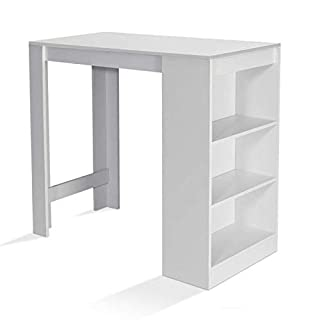 IDMarket - Table de Bar Barth 2 à 4 Personnes Bois Blanc