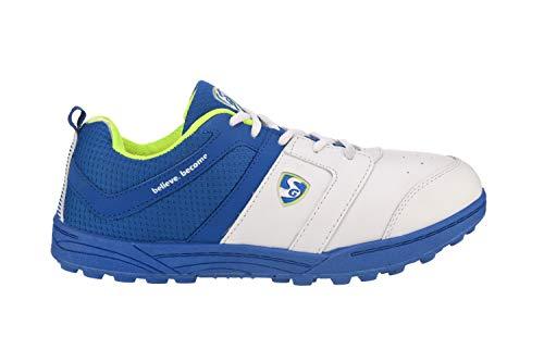 SG Shoe SG Shield (X3) WHT/R.Blue/Lime No.8 Cricket Shoes, 8 (WHT/R.Blue/Lime)
