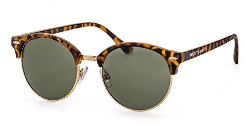 Route 66 Runde Sonnenbrille/Retro Sonnenbrille im Browline-Stil für Damen und Herren F2503668