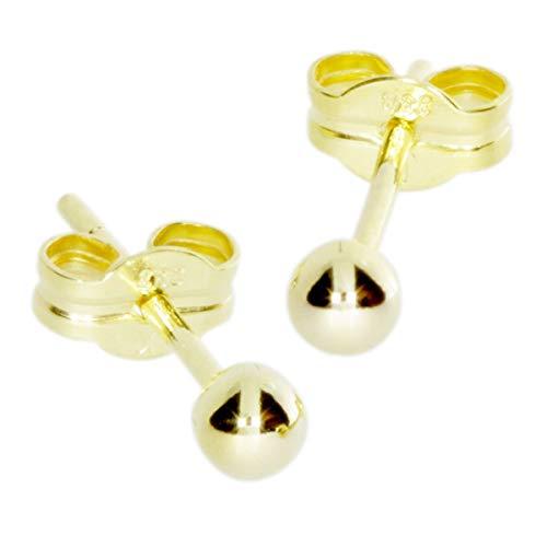 Goldohrringe Damen Herren Echt 333 Gold - Goldene Mini Ohrstecker Stecker Klassische Dezente Kugel 3mm - Ohrringe für Kinder - Nickelfrei - Golden Earring