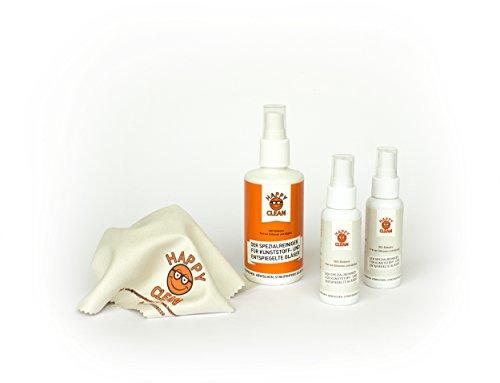 HAPPY CLEAN 1-Jahres Paket | Brillenreiniger | Spezialreiniger für Kunststoffgläser, entspiegelte Gläser und Oberflächen | Streifenfreie Sauberkeit | Silikon- und Alkoholfrei | 100 Prozent Biobasis