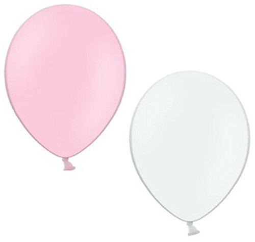50 Luftballons je 25 rosa & weiß Qualitätsballons 27 cm Ø (Standardgröße B85) -
