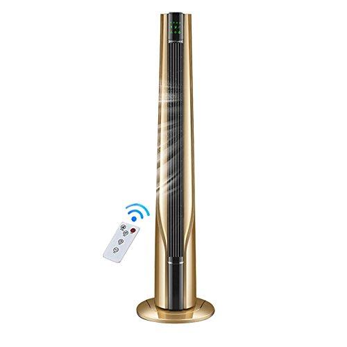 Mobile Klimageräte Xiaolin Elektrischer Ventilator-Turm-Ventilator Vertikaler laubloser Ventilator-Dämpfer Energiesparender Fernsteuerungsboden-Ventilator (Farbe : Gold) 1 Geschwindigkeiten-kugellager Motor