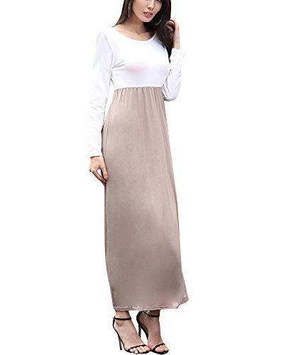 Damen Elegant 3/4 Aermel Lang Abend Kleider Damen Schulterfreien kleid Kaffee